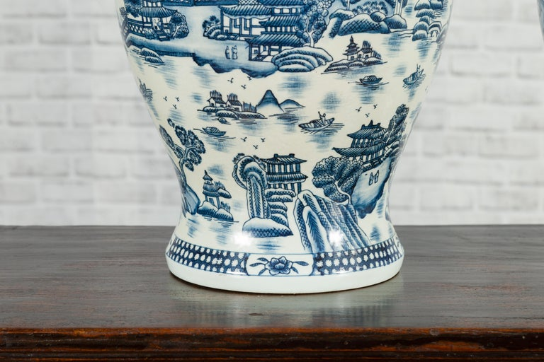 Pair of Vintage Chinese Blue and white Porcelain Temple Jars with Architectures For Sale 5
