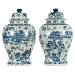 Pair of Vintage Chinese Blue and white Porcelain Temple Jars with Architectures