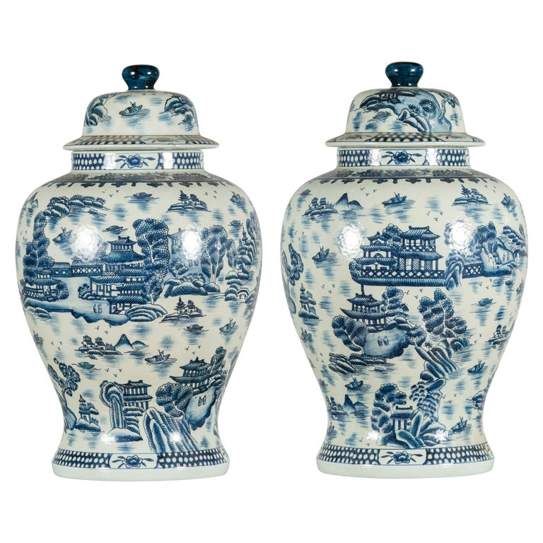 Pair of Vintage Chinese Blue and white Porcelain Temple Jars with Architectures For Sale