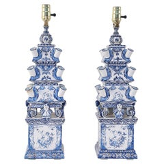 Pair of Vintage Chinese Blue and White Tiered Tole Tulipiere Table Lamps