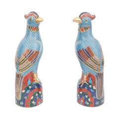 Pair of Vintage Chinese Cloisonné Birds