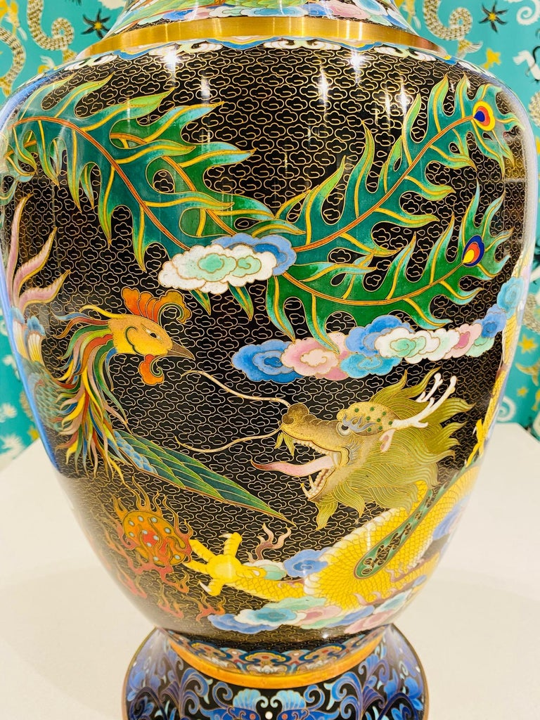 Pair of Vintage Chinese Cloisonné Vases with Dragons and Phoenix, c. 1940's For Sale 3