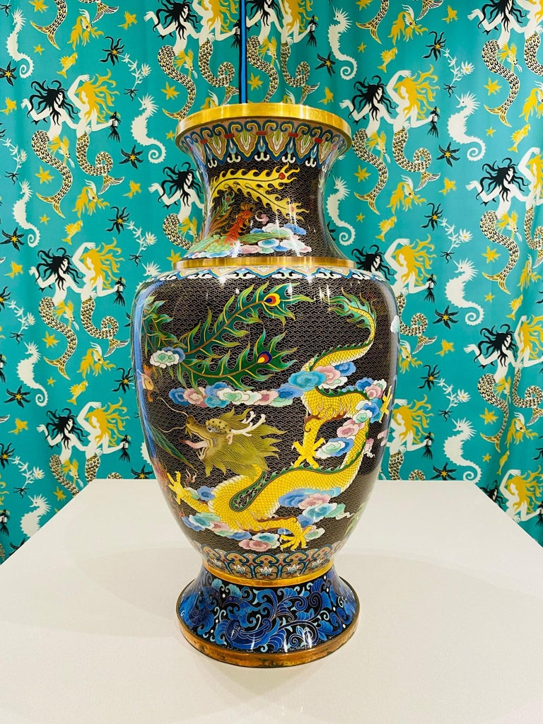 Pair of Vintage Chinese Cloisonné Vases with Dragons and Phoenix, c. 1940's For Sale 6