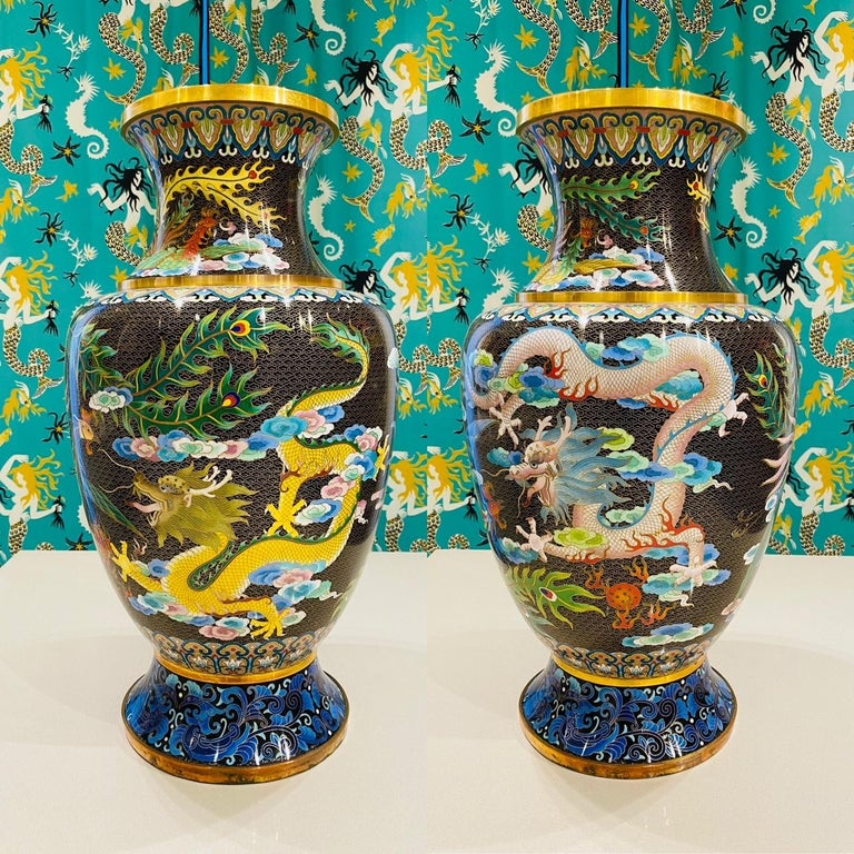 Pair of Vintage Chinese Cloisonné Vases with Dragons and Phoenix, c. 1940's For Sale 8
