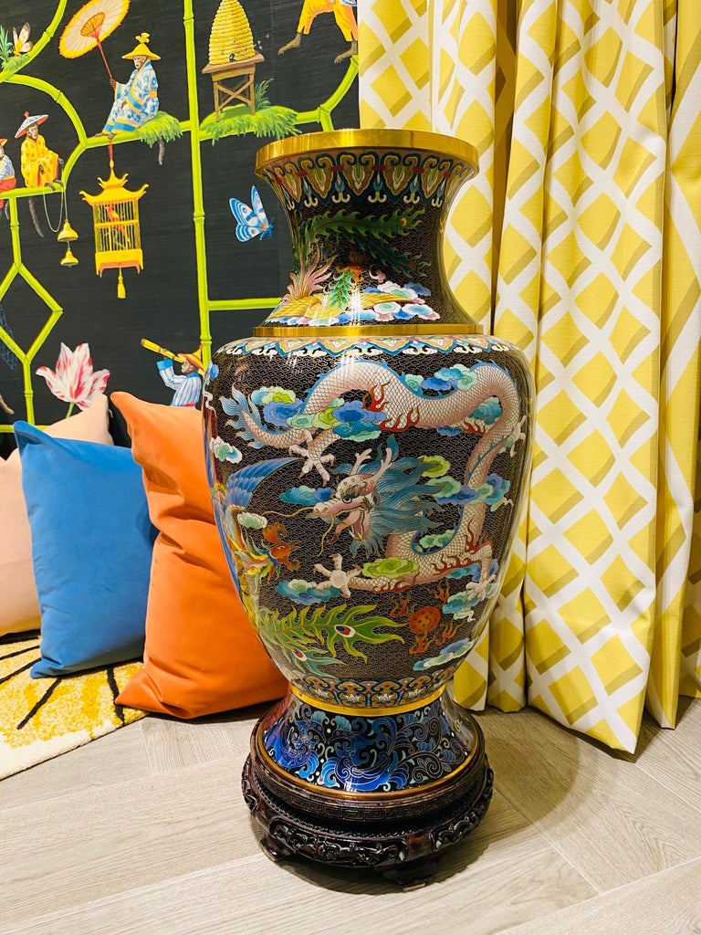 Pair of Vintage Chinese Cloisonné Vases with Dragons and Phoenix, c. 1940's For Sale 9