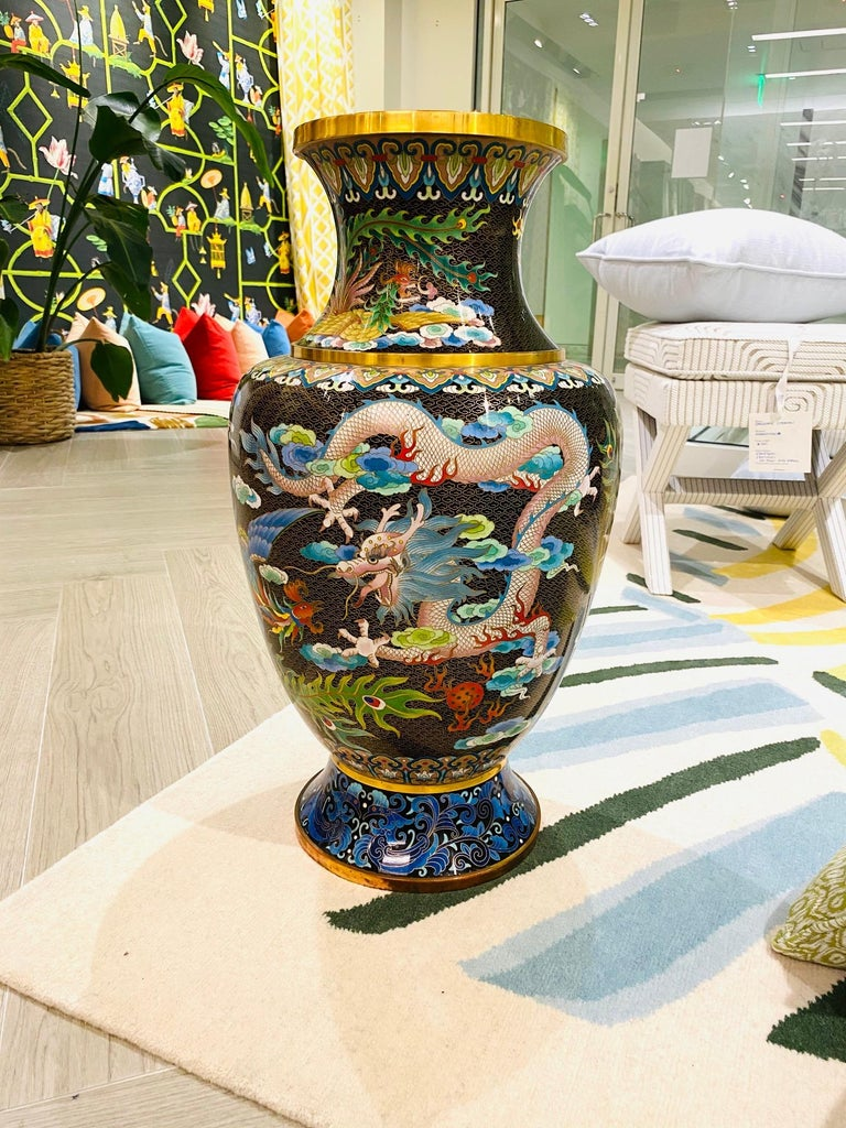 Pair of Vintage Chinese Cloisonné Vases with Dragons and Phoenix, c. 1940's For Sale 11