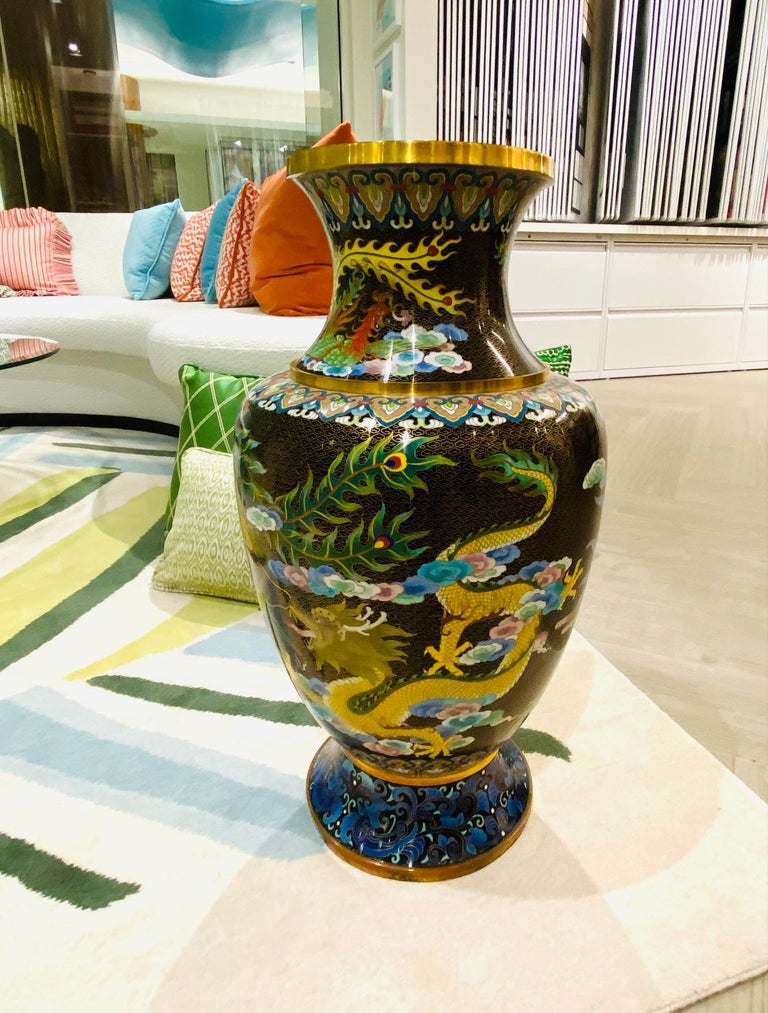 Pair of Vintage Chinese Cloisonné Vases with Dragons and Phoenix, c. 1940's For Sale 12