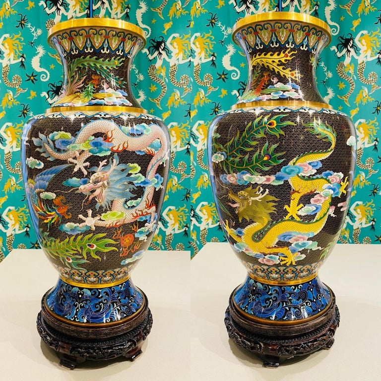Pair of exquisite 1940's Chinese Cloisonné large vases. Cloisonné is an ancient technique which incorporates decorative materials like enamel, colored glass, or gemstones into metalwork objects bound by wire on metal backing. The pair of vases