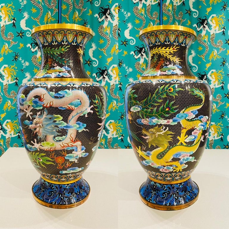 Chinese Export Pair of Vintage Chinese Cloisonné Vases with Dragons and Phoenix, c. 1940's For Sale