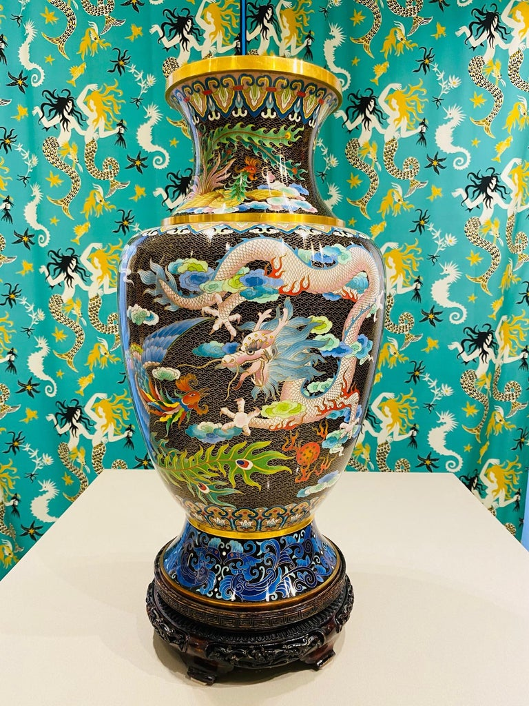 Metalwork Pair of Vintage Chinese Cloisonné Vases with Dragons and Phoenix, c. 1940's For Sale