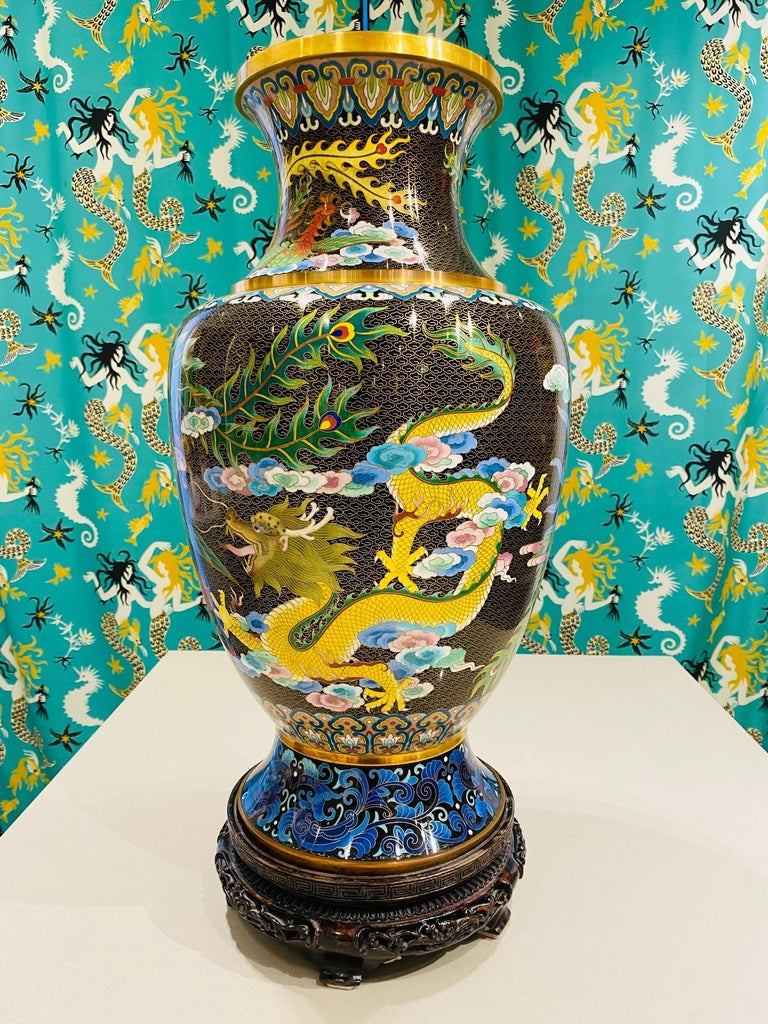 Pair of Vintage Chinese Cloisonné Vases with Dragons and Phoenix, c. 1940's In Good Condition For Sale In Fort Lauderdale, FL