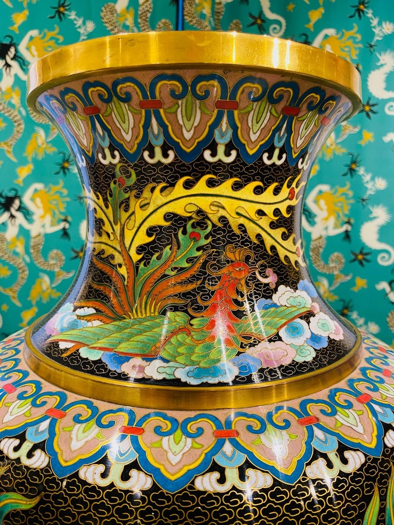 Brass Pair of Vintage Chinese Cloisonné Vases with Dragons and Phoenix, c. 1940's For Sale