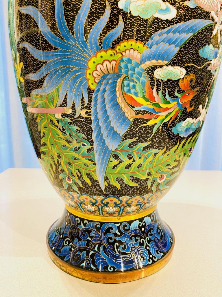 Pair of Vintage Chinese Cloisonné Vases with Dragons and Phoenix, c. 1940's For Sale 1