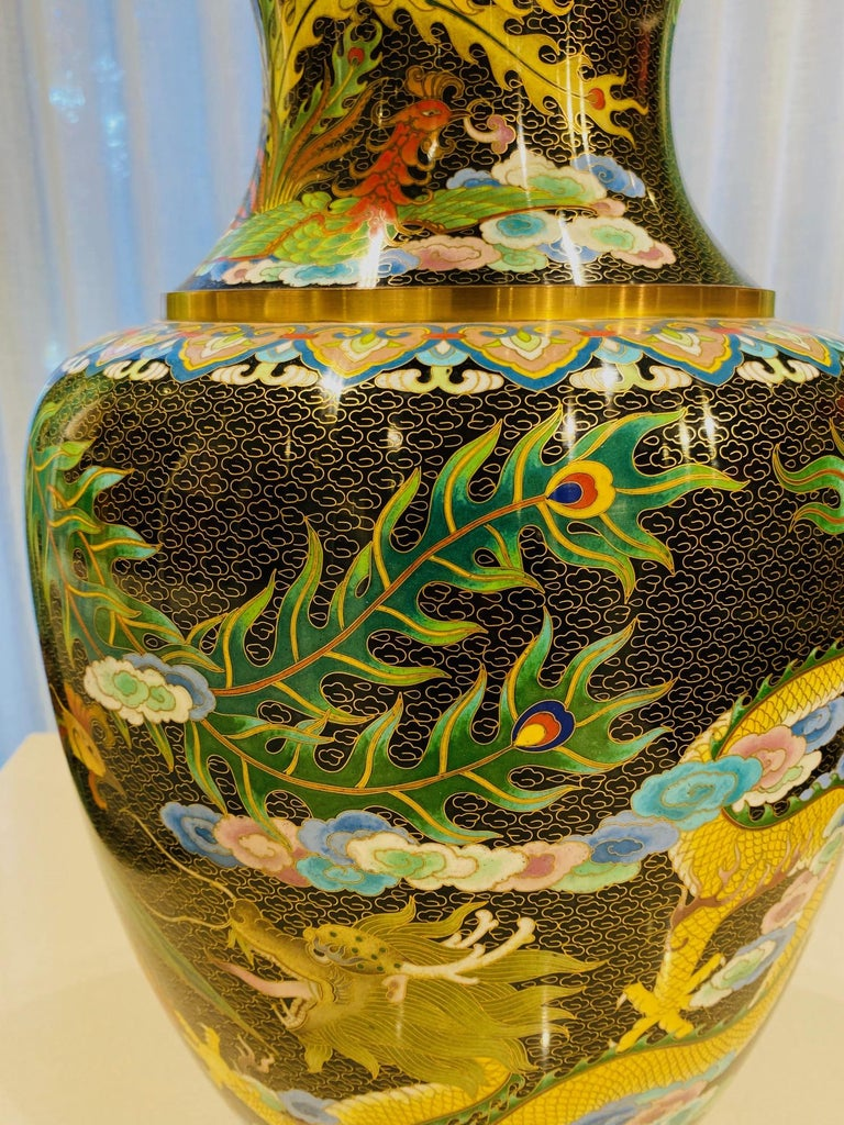 Pair of Vintage Chinese Cloisonné Vases with Dragons and Phoenix, c. 1940's For Sale 2