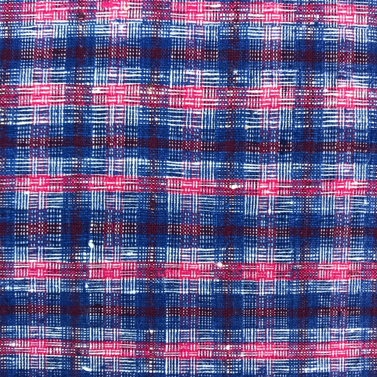Pair of Vintage Chinese Cotton Plaid Pillows For Sale 2