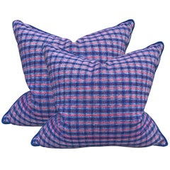 Pair of Vintage Chinese Cotton Plaid Pillows