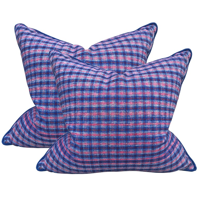 Pair of Vintage Chinese Cotton Plaid Pillows For Sale