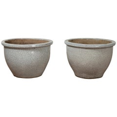Pair of Vintage Chinese Cracked Celadon Circular Tapering Planters