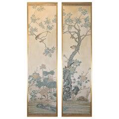 Pair of Vintage Chinese Design Wallpaper Panels