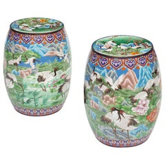 Pair of Vintage Chinese Double-Face Cloisonné Enameled Garden Seats