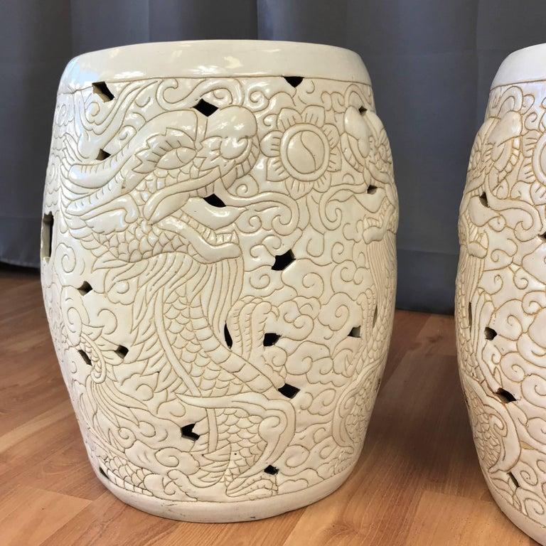 Pair Of Vintage Chinese Dragon Motif White Ceramic Garden