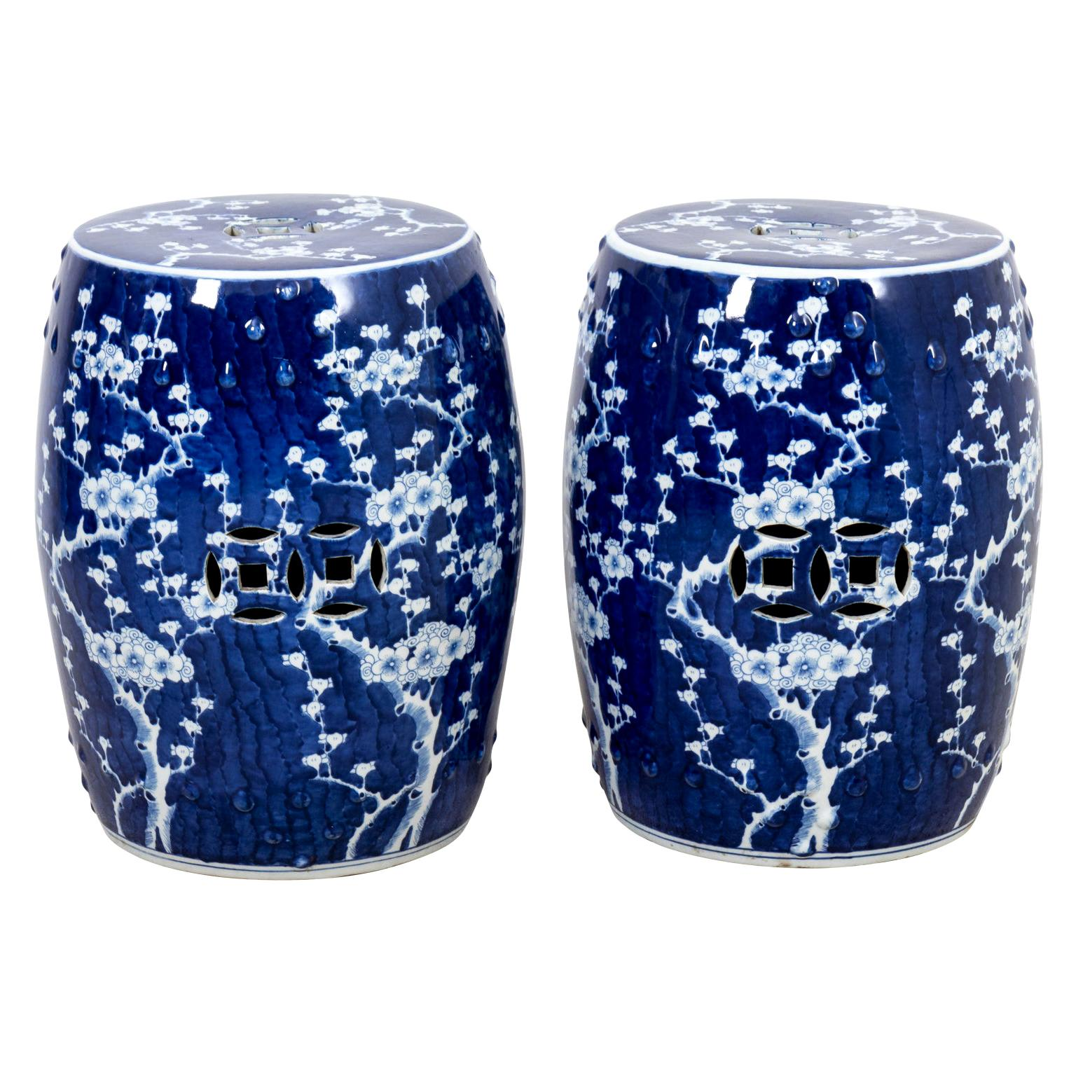 Pair of Vintage Chinese Export Blue and White Porcelain Garden Stools