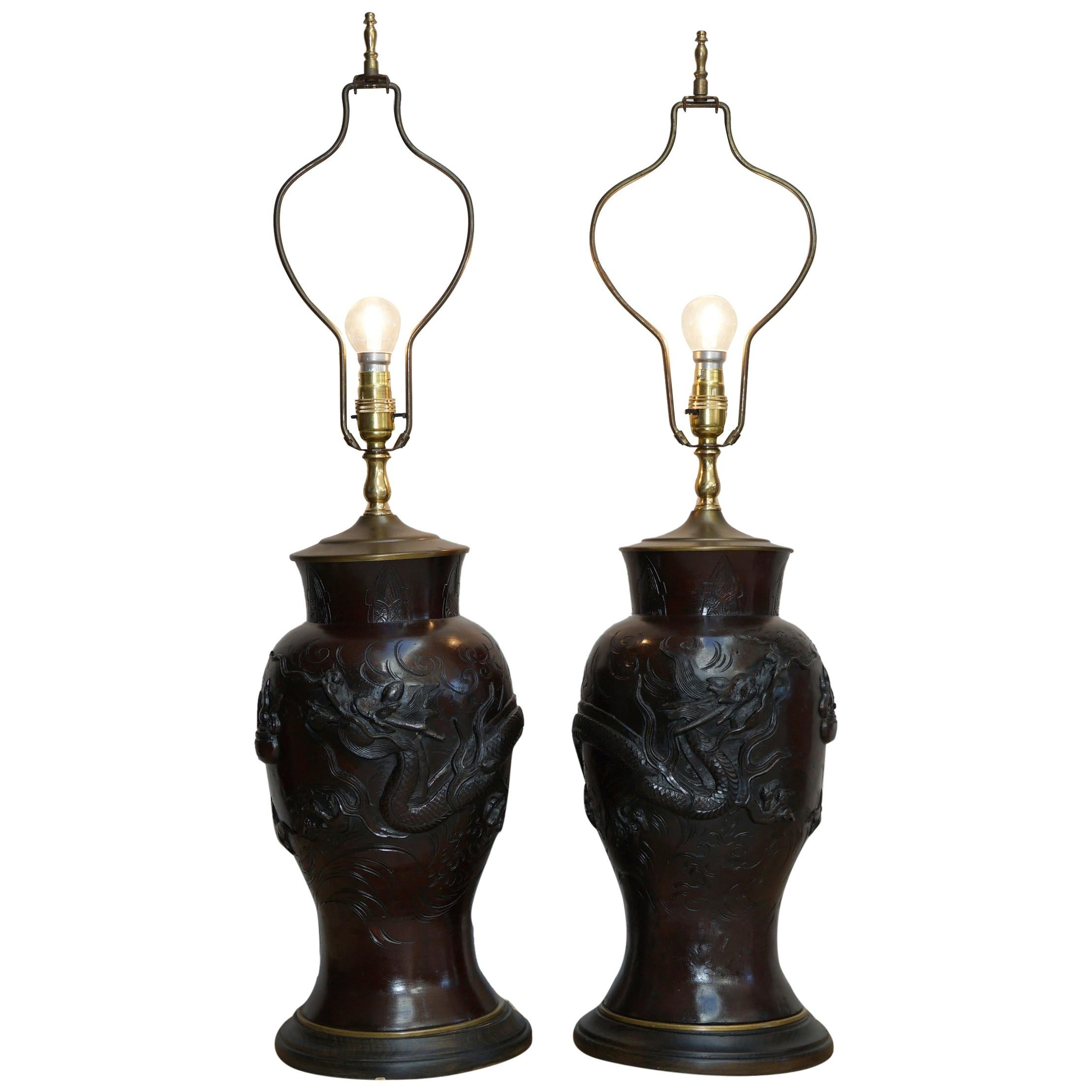 Pair of Vintage Chinese Export Bronze Table Lamps with Dragons & Floral Decor
