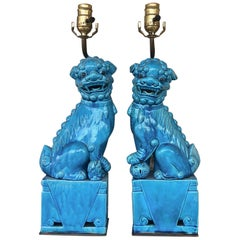 Pair of Vintage Chinese Fu Dog Lamp