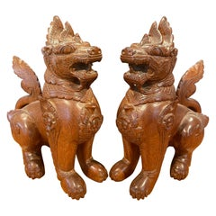 Pair of Vintage Chinese Hand Carved Hard Wood Foo Dogs