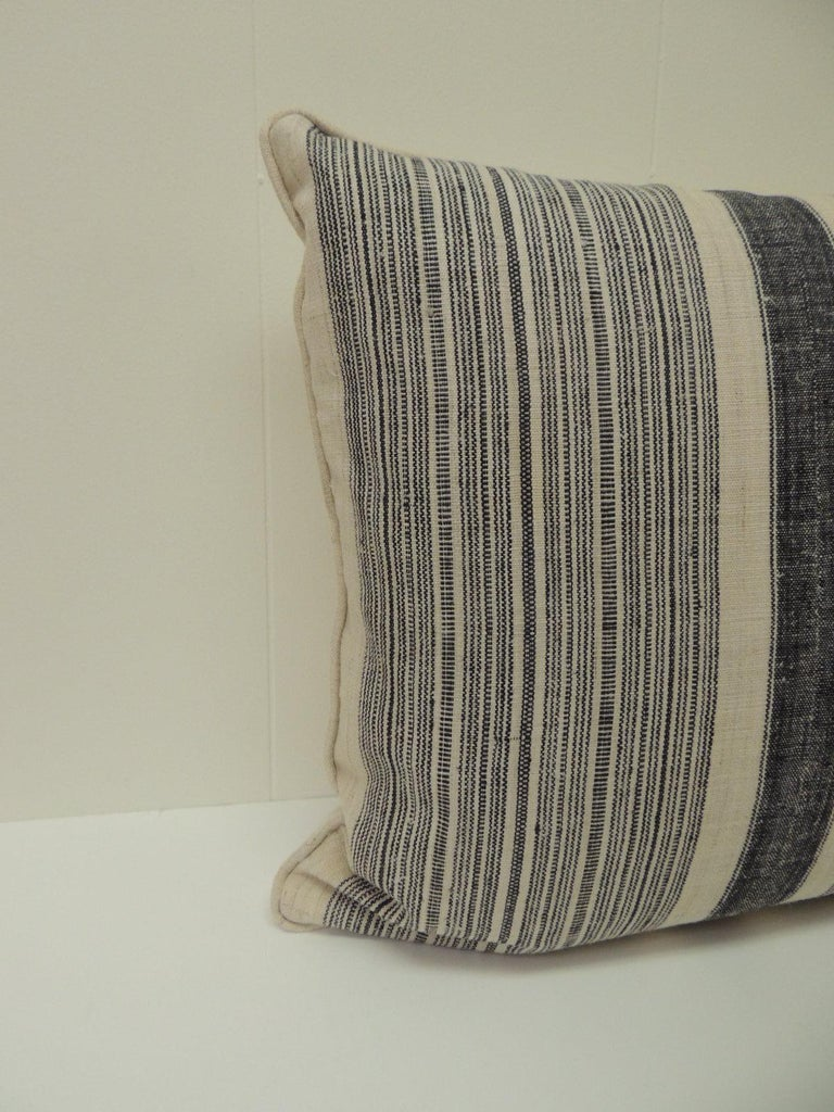 Hand-Crafted Pair of Vintage Chinese Homespun Blue and Natural Stripes Decorative Pillows For Sale