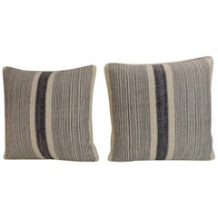 Pair of Vintage Chinese Homespun Blue and Natural Stripes Decorative Pillows