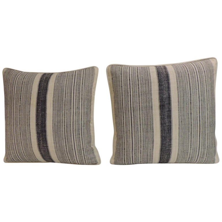 Pair of Vintage Chinese Homespun Blue and Natural Stripes Decorative Pillows For Sale