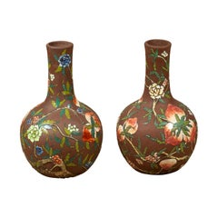 Pair of Vintage Chinese Kendi Shape Brown Vases with Floral and Fruit Décor