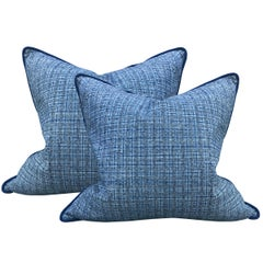 Pair of Vintage Chinese Plaid Cotton Pillows