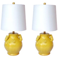 Pair of Vintage Chinese Pottery Lamps with Antique Yellow Glaze, C. 1980's