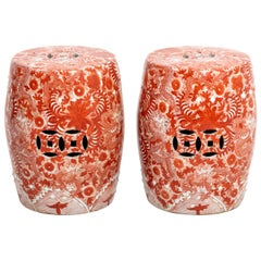 Pair of Vintage Chinese Red Floral Ceramic Garden Stools For Sale