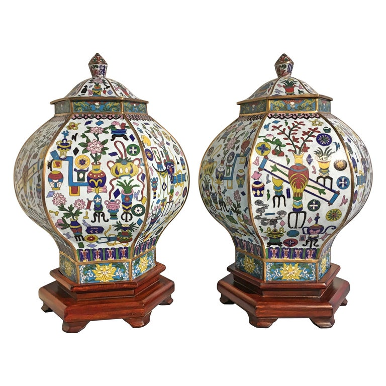 Pair of Vintage Chinese White Cloisonné Hexagonal Covered Vases, 1950s For Sale
