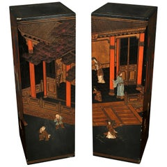 Pair of Vintage Chinoiserie Decorated Pedestals