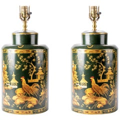 Pair of Vintage Chinoiserie Wood Tea Canister Lamps