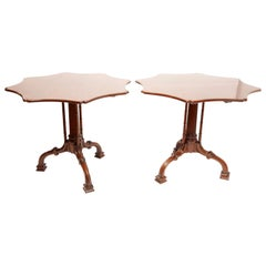 Pair of Vintage Chippendale Style Mahogany Tilt-Top Tables, by Burton Ching