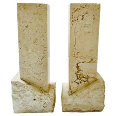 Pair of Vintage Chiseled Marble Architectural Candleholders