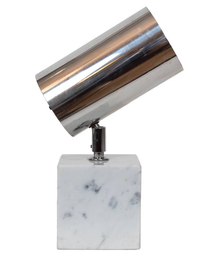 Minimalist Pair of Vintage Chrome and Carrara Marble Lights, Attributed to Robert Sonneman For Sale