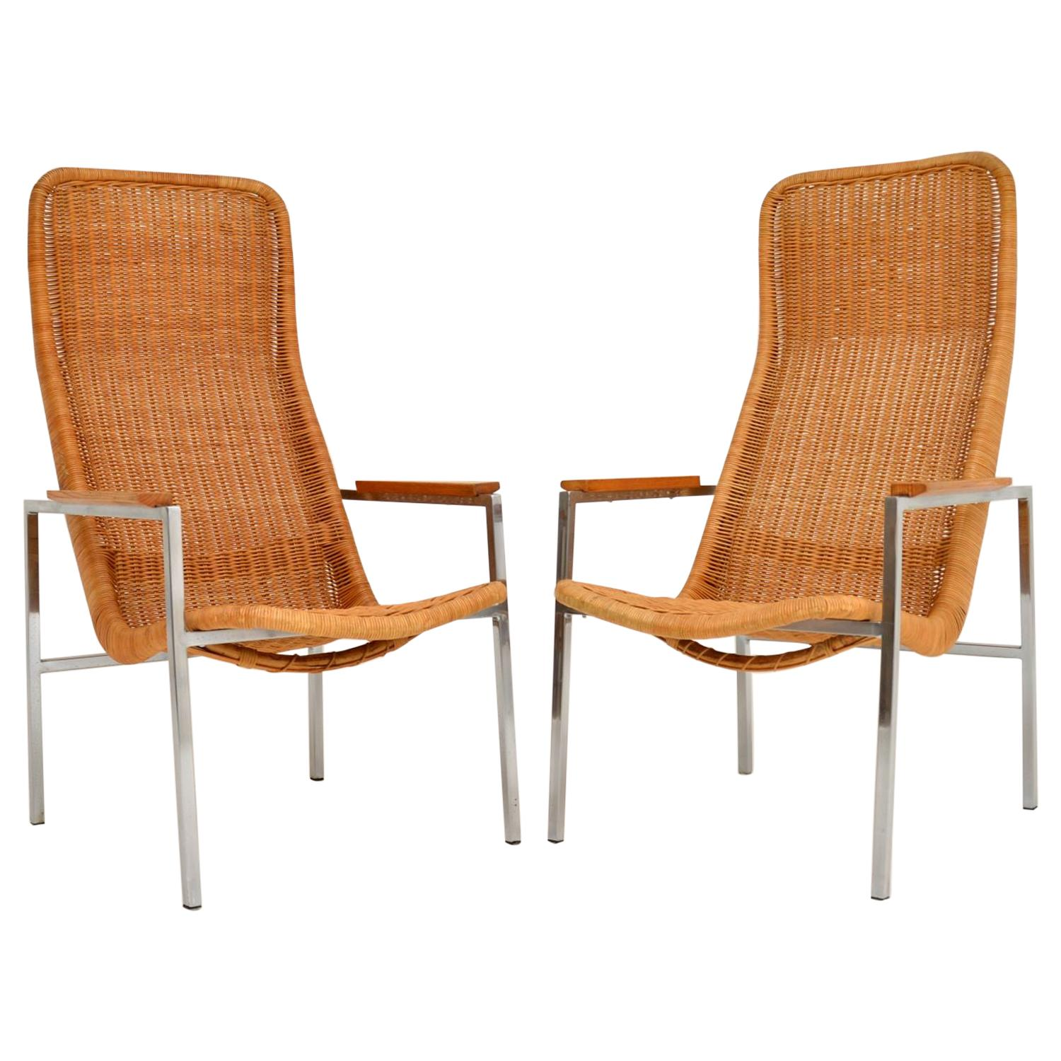 Pair of Vintage Chrome and Rattan Armchairs by Dirk Van Sliedrecht