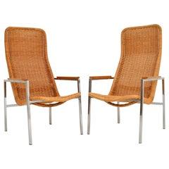Pair of Vintage Chrome and Rattan Armchairs by Dirk Van Sliedrecht