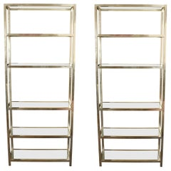 Pair of Vintage Chrome Étagères with Glass Shelves