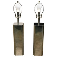 Pair of Vintage Chrome Lamps Attributed to Laurel Lamp Co.