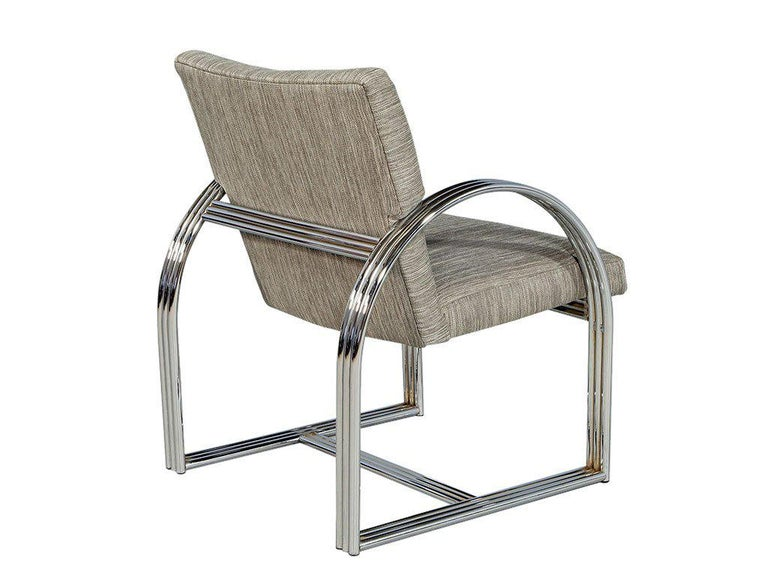 Fabric Pair of Vintage Chrome Side Chairs For Sale