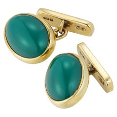 Pair of Vintage Chrysoprase and Gold Cufflinks