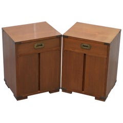 Pair of Vintage circa 1950 Light Mahogany Military Campaign Side Lamp End Tables