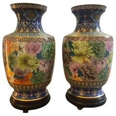 Pair of Vintage Cloisonne Chinese Vases, circa 1950